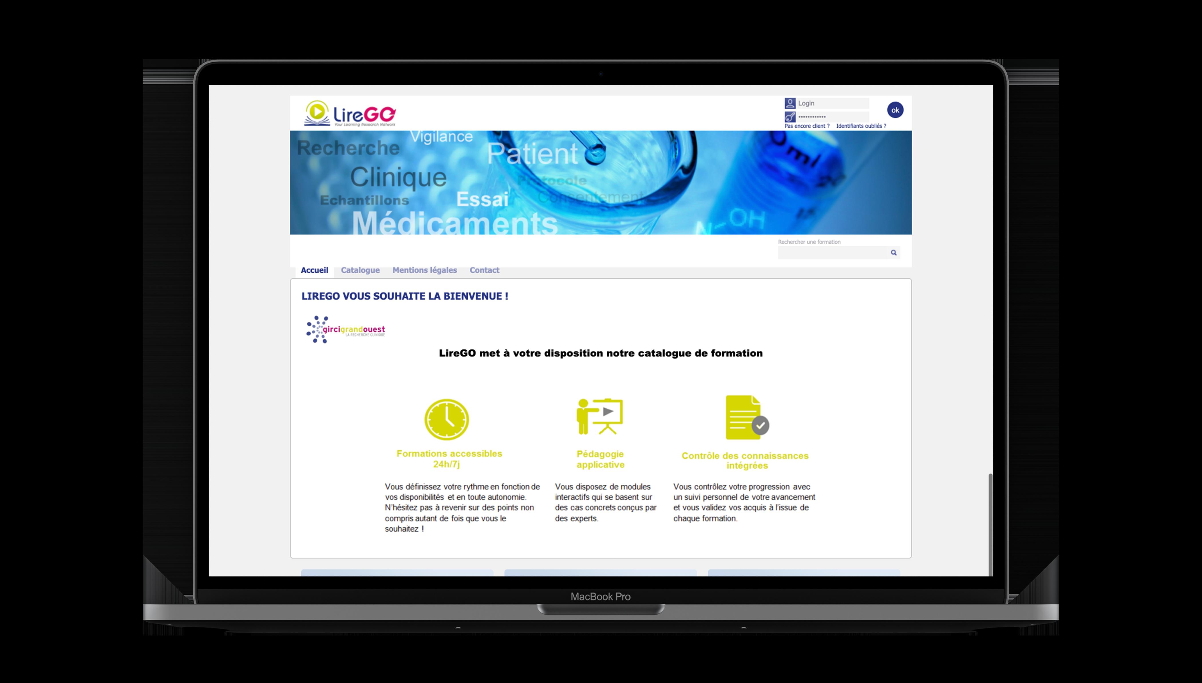 Mock Up montrant l'interface de Lirego